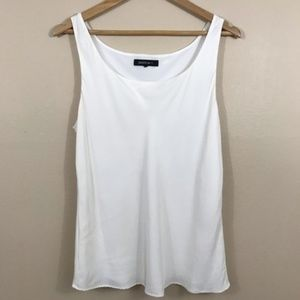 Lafayette 148 White Sleeveless Silk Blouse C73